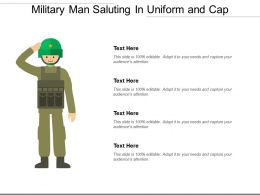 Military Man Saluting In Uniform And Cap