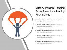 Military Person Hanging From Parachute Having Four Strings