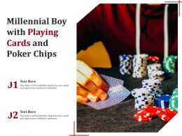 Millennial Boy With Playing Cards And Poker Chips