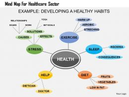 Mind Map For Healthcare Sector Flat Powerpoint Design