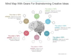 Mind Map With Gears For Brainstorming Creative Ideas Ppt Inspiration