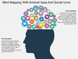 Mind Mapping With Android Apps And Social Icons Flat Powerpoint Design