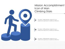 Mission Accomplishment Icon Of Man Climbing Stairs