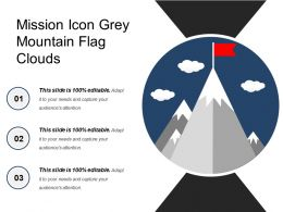 Mission Icon Grey Mountain Flag Clouds