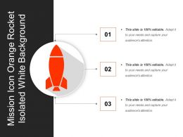 Mission Icon Orange Rocket Isolated White Background