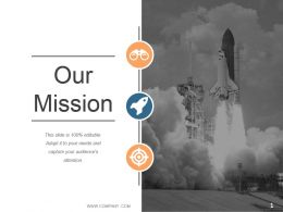 Mission Slide With Icons And Rocket Ship Image Ppt Slides