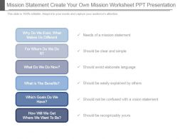 Mission Statement Create Your Own Mission Worksheet Ppt Presentation