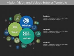 Mission Vision And Values Bubbles Template