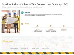 Mission Vision And Values Of Our Construction Company Quickest Ppt Powerpoint Presentation Icon Guide