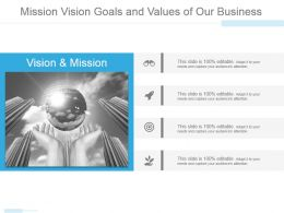 Mission Vision Goals And Values Of Our Business Powerpoint Templates
