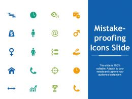 Mistake Proofing Icons Slide Technology I25 Ppt Powerpoint Presentation File Show