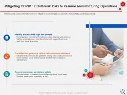 Mitigating Covid 19 Outbreak Risks To Resume Infrastructure Ppt Ideas
