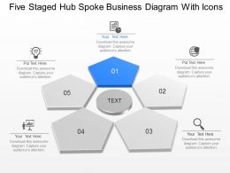 Mj Five Staged Hub Spoke Business Diagram With Icons Powerpoint Template Slide