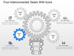 mj Four Interconnected Gears With Icons Powerpoint Temptate