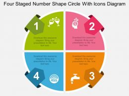 mj Four Staged Number Shape Circle With Icons Diagram Flat Powerpoint Design