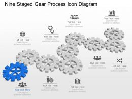 Mj Nine Staged Gear Process Icon Diagram Powerpoint Template Slide