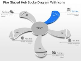 Mk Five Staged Hub Spoke Diagram With Icons Powerpoint Template Slide
