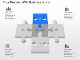 mk Four Puzzles With Business Icons Powerpoint Temptate