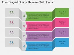 mk Four Staged Option Banners With Icons Flat Powerpoint Design