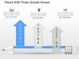 mk Pencil With Three Growth Arrows Powerpoint Template