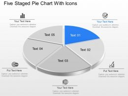 Ml Five Staged Pie Chart With Icons Powerpoint Template Slide