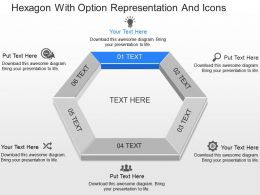 ml Hexagon With Option Representation And Icons Powerpoint Template
