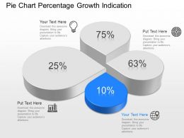 ml Pie Chart Percentage Growth Indication Powerpoint Template