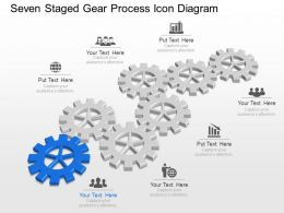 Ml Seven Staged Gear Process Icon Diagram Powerpoint Template Slide