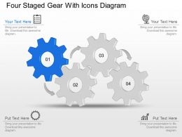 Mm Four Staged Gear With Icons Diagram Powerpoint Template Slide