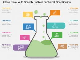 mm_glass_flask_with_speech_bubbles_technical_specification_flat_powerpoint_design_Slide01