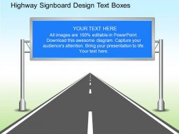 mm Highway Signboard Design Text Boxes Powerpoint Template