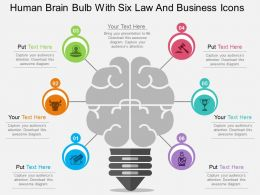 mn Human Brain Bulb With Six Law And Business Icons Flat Powerpoint Design