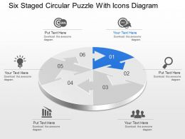 Mn Six Staged Circular Puzzle With Icons Diagram Powerpoint Template Slide