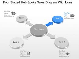 Mo Four Staged Hub Spoke Sales Diagram With Icons Powerpoint Template Slide