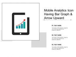 Mobile Analytics Icon Having Bar Graph And Arrow Upward