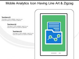 Mobile Analytics Icon Having Line Art And Zigzag Line