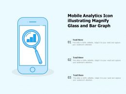 Mobile Analytics Icon Illustrating Magnify Glass And Bar Graph