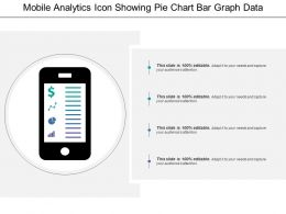 Mobile Analytics Icon Showing Pie Chart Bar Graph Data Analytics