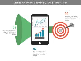 Mobile Analytics Showing Crm And Target Icon