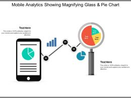 Mobile Analytics Showing Magnifying Glass And Pie Chart