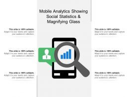 Mobile Analytics Showing Social Statistics And Magnifying Glass