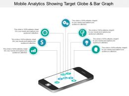 Mobile Analytics Showing Target Globe And Bar Graph