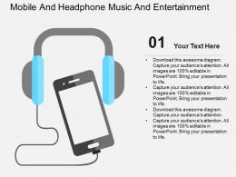 Mobile And Headphone Music And Entertainment Flat Powerpoint Design