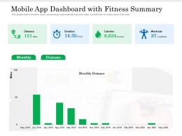 Mobile App Dashboard With Fitness Summary