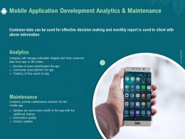 Mobile Application Development Analytics And Maintenance Ppt Ideas