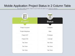 Mobile Application Project Status In 2 Column Table