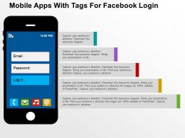 Mobile Apps With Tags For Facebook Login Flat Powerpoint Design