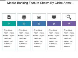 Mobile Banking Feature Shown By Globe Arrow Home And Screen Image