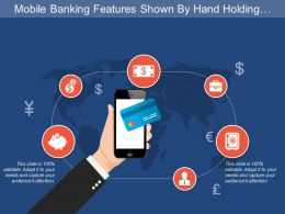 Mobile Banking Features Shown By Hand Holding Phone With Dollar Human And Briefcase Image