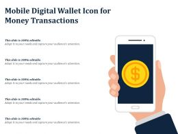 Mobile Digital Wallet Icon For Money Transactions